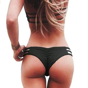 VEGA Cheeky Ruched Strappy Bikini Bottoms